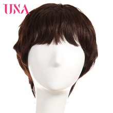 UNA Human Hair Wigs #6384 #2/33 Non-Remy 150% Density Peruvian Straight Machine