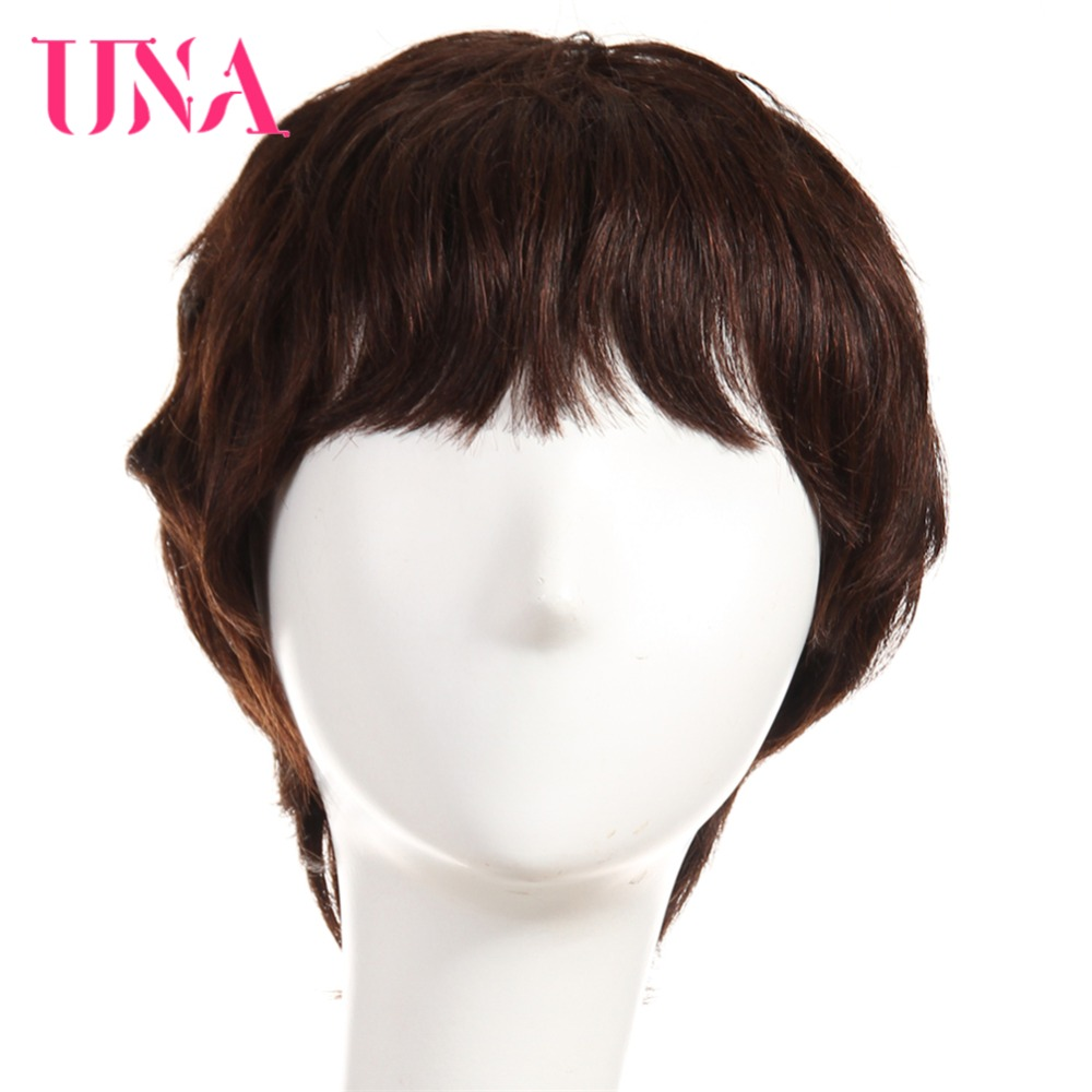 UNA Peruvian Straight Machine Human Hair Wigs Remy Human Hair 120% Density #6384