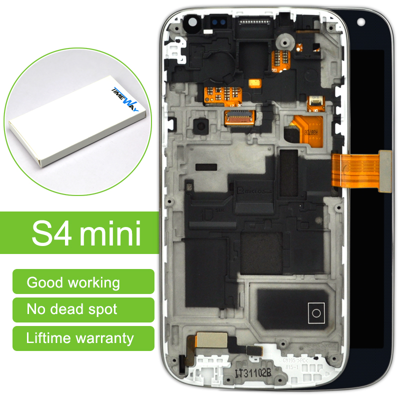 DHL 10 pcs LCD Display Touch Screen Digitizer Assembly with frame For Samsung S4 mini I9190 i9195 ,free shipping