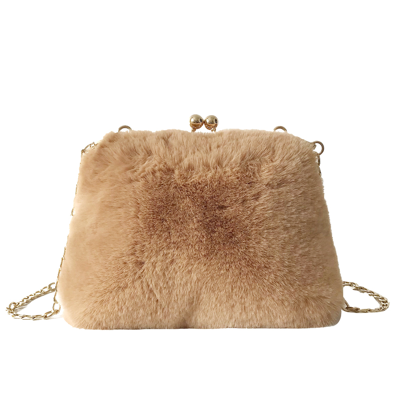 Faux Rabbit Fur Women Bag Designer Brand Female Handbags Faux Rabbit Fur Plush Messenger Bag Winter Ladies Crossbody Hangbag