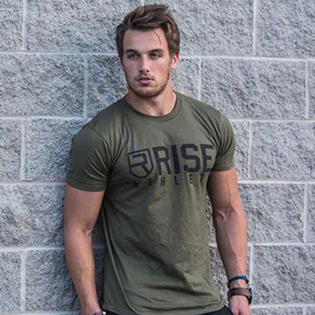 Мужская брендовая футболка летние фитнес футболки Модные Повседневные тренировки хлопок короткий рукав армейский зеленый футболки одежда