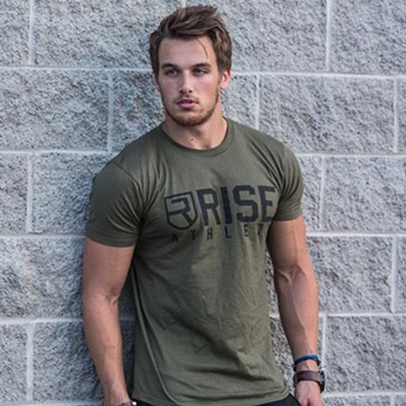Men Brand T Shirt Summer Fitness Bodybuilding T-shirts Fashion Casual Workout Cotton Short Sleeve Army Green Tee Tops Clothing