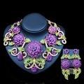2017 Nueva Nupcial Aretes Collar de Conjuntos de Joyas de Oro de Cristal para Las Mujeres Del Banquete de Boda Perlas Africanas sistemas de La Joyería de LF G016