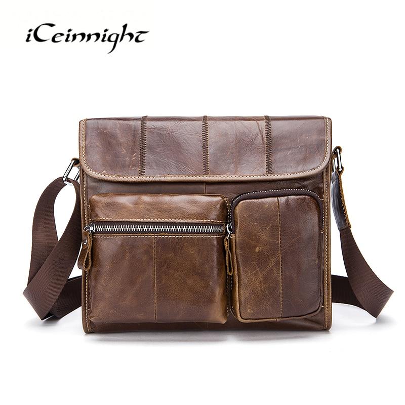 ФОТО iCeinnight Brand Man Geunine Leather Small Shoulder Messenger Crossbody Bags Vintage Casual Fashion High Quality Coffee Men Bag