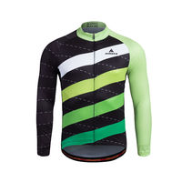 Reflective Big Stripe Long Sleeve Cylcing Jerseys Green Bike Jerseys Cycling Clothing Top Bicycle Jacket S