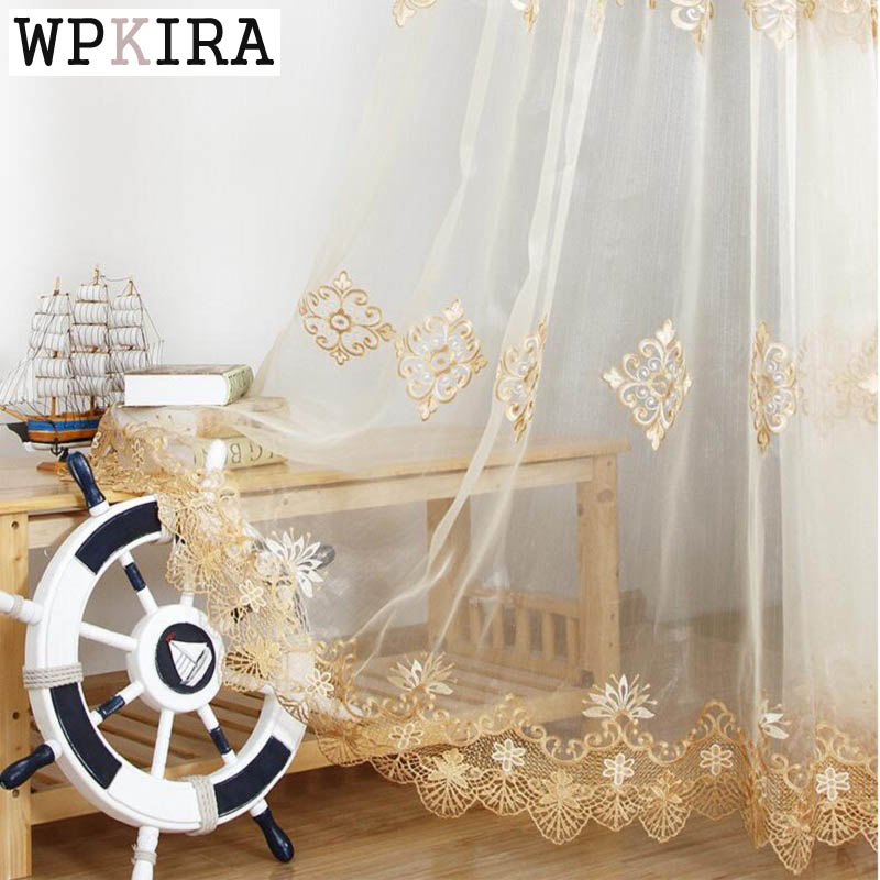 Luxury Embroidered Sheer Voile Curtains Window Drapes Cortina for Living Room Door Gold Lace Curtains Tulle Windows 160&30