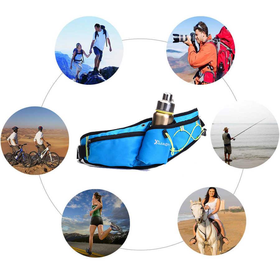 Работает Фанни поясная сумка с держатель для бутылки с водой Run Belt Для мужчин Для женщин Trail Running Кемпинг Пеший Туризм спортивный чехол сумка для телефона