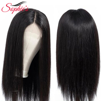 Sophie's Brazilian Straight 2*4 Middle Part Lace Closure Human Hair Wigs Remy Lace Wigs With Baby Hair Pre Plucked Natural Color