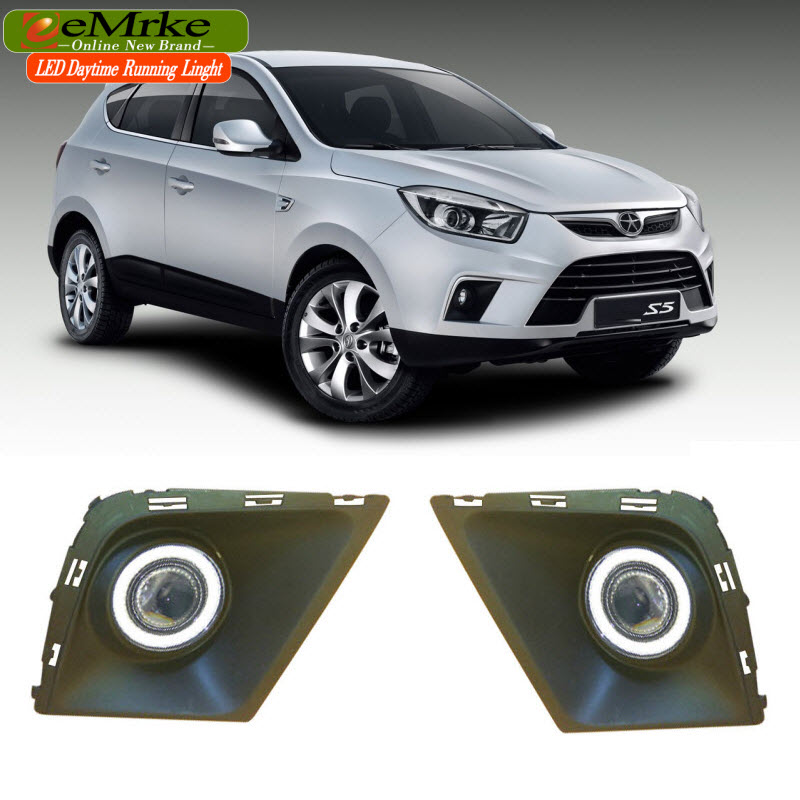 EEMRKE 2in1 Fog Lights Lamp For JAC S5 LED Angel Eye DRL Daytime Running Light Halogen Bulbs H3 55W авто jac s5 в москве