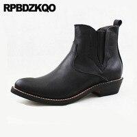 Ковбойские ботинки мужские из натуральной кожи Острый носок в западном стиле Осень черный пастушка слипоны Коренастый Обувь большого разм