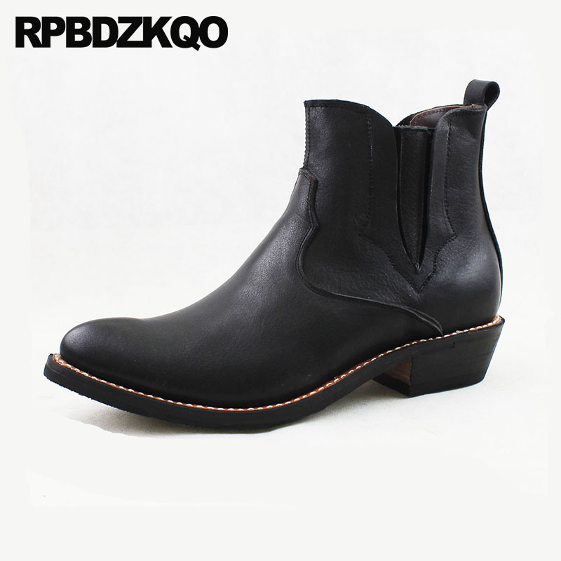 Cowboy Boots Mens Genuine Leather Pointed Toe Western Fall Black Cowgirl Slip On Chunky Plus Size Shoes Italian Full Grain AnkleCowboy Boots Mens Genuine Leather Pointed Toe Western Fall Black Cowgirl Slip On Chunky Plus Size Shoes Italian Full Grain Ankle