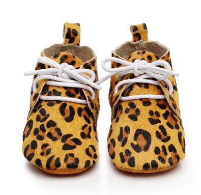Handmade Cheetah Horse Hair Lace Up Genuine Leather Dot Suede Soft Sole Shoes Baby Toddler Baby Moccasins Leather Baby Shoes