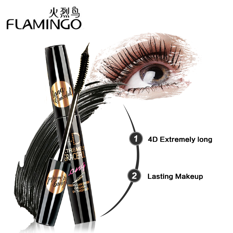 цена FLAMINGO New Fiber Makeup Mascara Waterproof 4D Mascara Beauty Curling Eyelash Cosmetic Rimel Mascara 6368