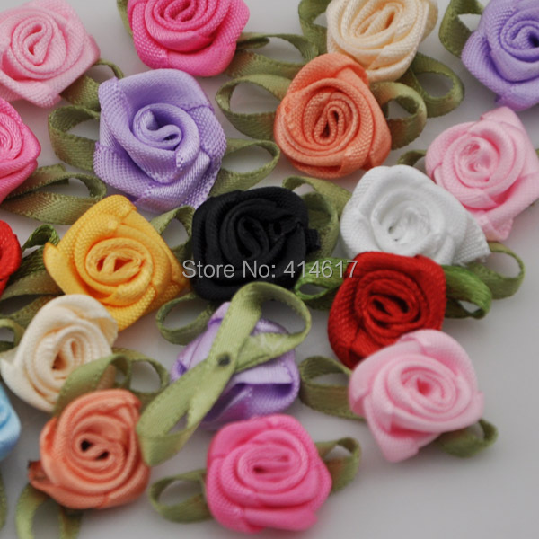 50pcs Mix color ribbon rose handmade flowers garment supplies sewing appliques diy accessories wedding decoration A039