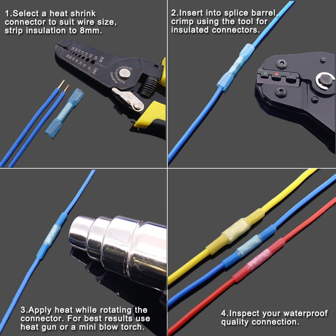 270 pcs heat shrink wire connector kit electrical insulated crimp red connectors 04mm to 15mm2 22 16awg wire blue connectors 15mm to 25mm2 16 14awg wire yellow connectors 40mm to 60mm2 12 10awg wire greentooth Gallery