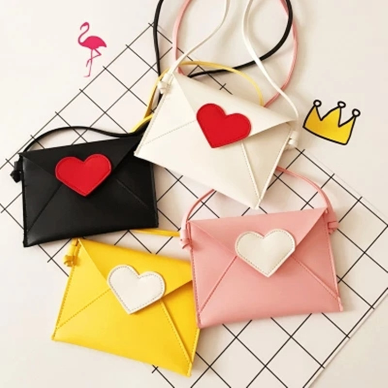 Brand New Children Envelope Bag Heart Patchwork Girls Candy Color Messenger Bag Babies F ...