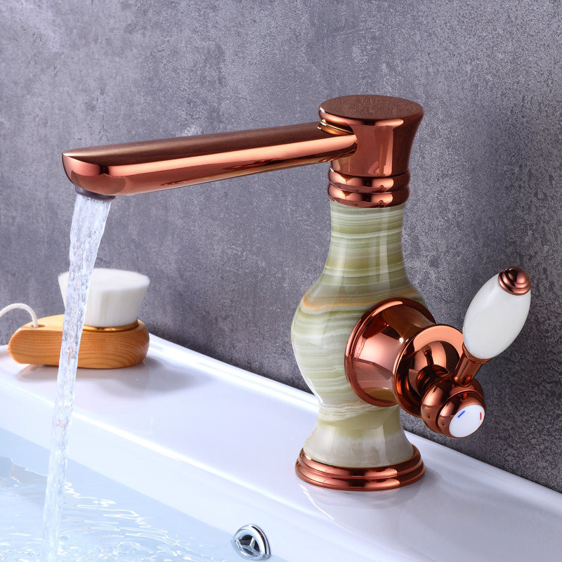 Basin Faucet Brass Bathroom Sink Mixer Tap Hot Cold Faucet Deck Mounted Rose gold gold Lavatory Tap Jade Water Crane Faucet in Basin Faucets from Home Improvement