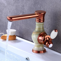 Basin Faucet Brass Bathroom Sink Mixer Tap Hot & Cold Faucet Deck Mounted Rose gold/gold Lavatory Tap Jade Water Crane Faucet
