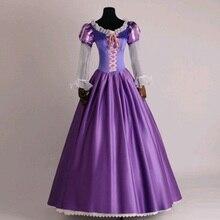 Костюм принцессы Рапунцель, платья с длинными волосами, фиолетовое длинное платье, Высококачественная Праздничная праздничная одежда