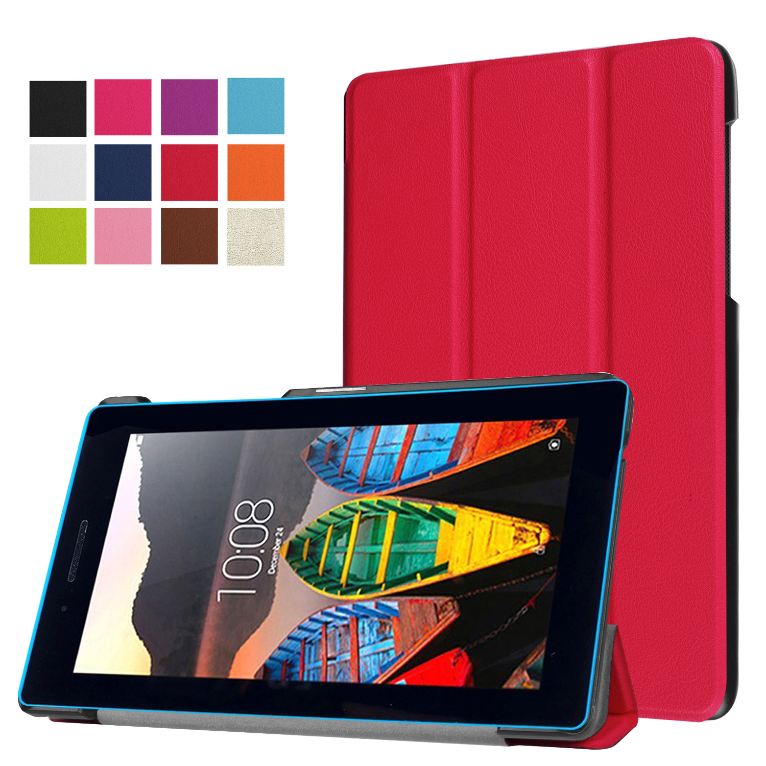 For Lenovo Tab 3 7 Essential 710F Case Flip Cover For Lenovo Tab 3 710F Tablet 3 Fold Stand Leather Funda Shell+Stylus
