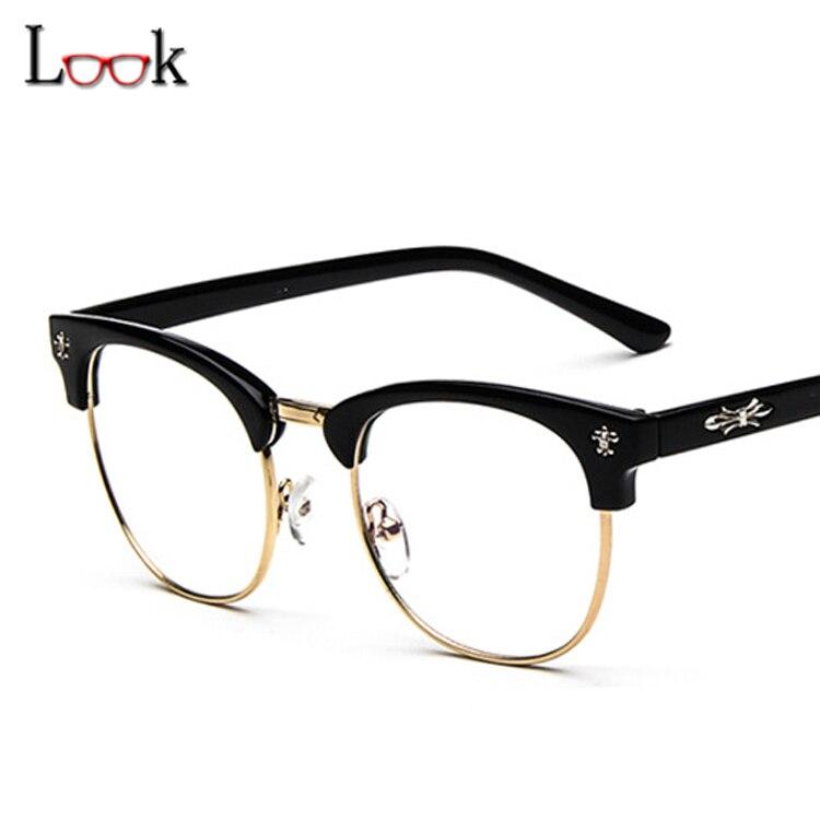5f5ec7b7ec39fb Top Mode 2018 Vintage Marque Métal Optique Lunettes Cadre Oculos De Grau Ordinateur  Lunettes Cadres Pour Femmes Hommes Lunettes