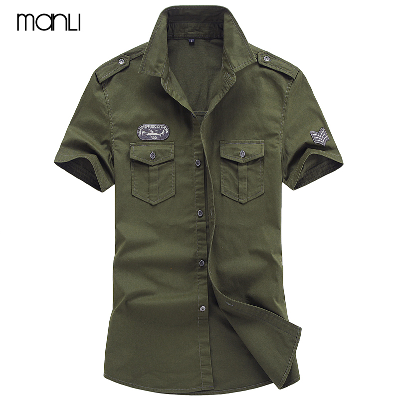 MANLI Plus Size M-6XL 2018 Men Summer Outdoor Short Sleeve Shirt Man 100% Pure Cotton Afs Jeep Khaki Shirts Army Green Clothing