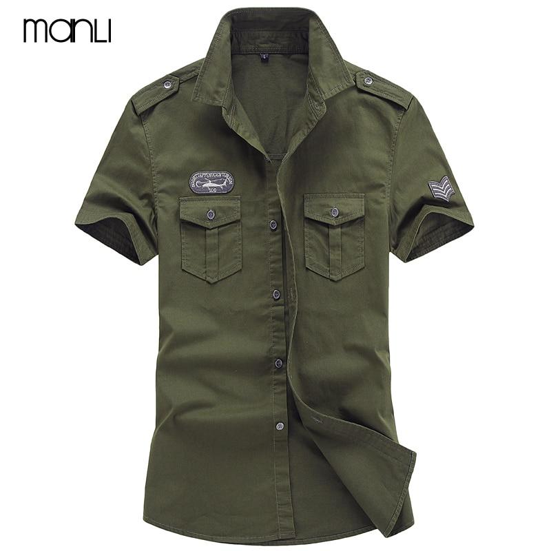 MANLI Plus Size M-6XL 2018 Men Summer Outdoor Short Sleeve Shirt Man 100% Pure Cotton Afs Jeep Khaki Shirts Army Green Clothing