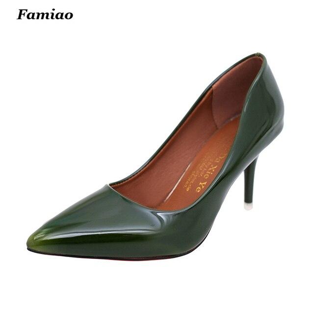Senhoras Sexy de Salto Alto Bombas de Noiva Sapatos de Festa Dedo Apontado Couro de Patente das Mulheres Sapatas Por Atacado