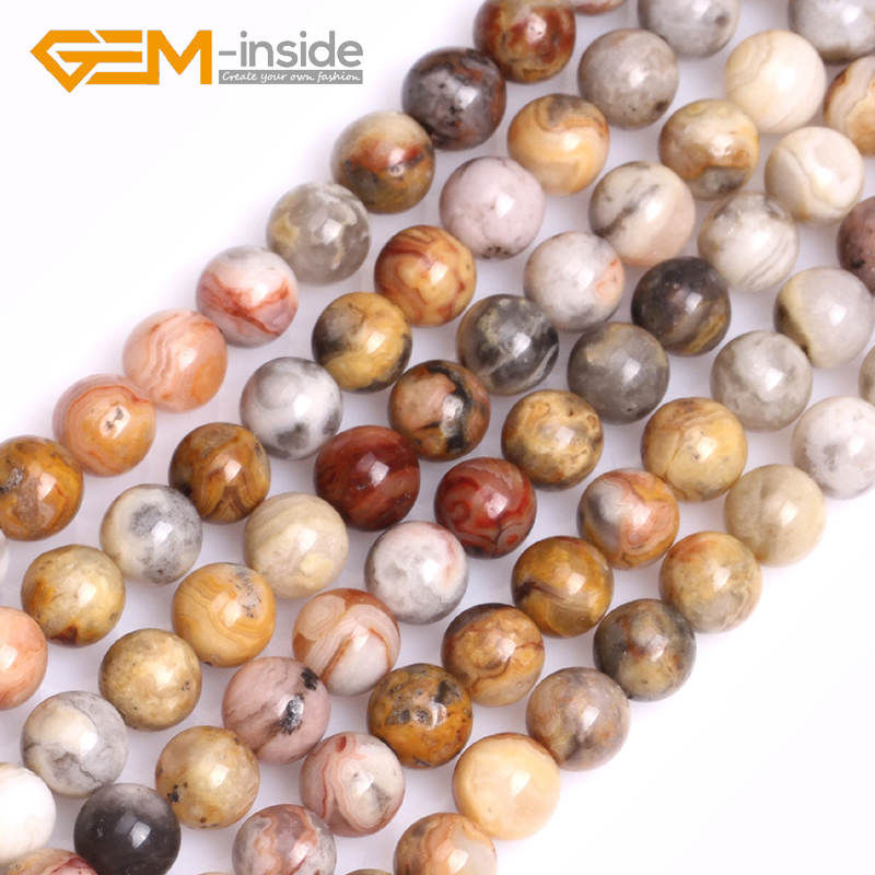 ᗕgem inside 6mm 12mm round crazy lace agates beads natural stone