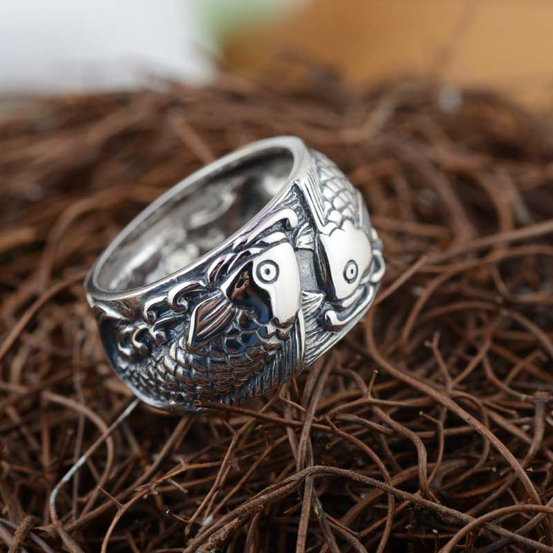 FNJ 925 Silver Fishes Ring New Fashion S925 Sterling Thai Silver Rings for Women Jewelry USA Size 7.5-11.5 цена