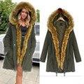 2016 New Fashion women's army green Large raccoon fur collar hooded long coat parkas outwear rabbit fur lining winter jacket