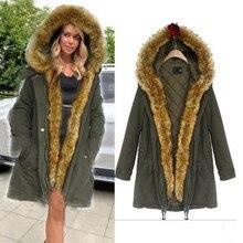 2016 Новая Мода женская армия зеленый Большой енота меховым воротником с капюшоном длинное пальто парки верхней одежды кролик меховой подкладке зима куртка