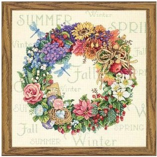 Top Quality Beautiful Lovely Counted Cross Stitch Kit Wreath For All Seasons Season Spring Summer Autumn Winter Dim 35040