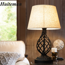 Luxary Classic American Bedroom Table Light Foyer European Fabric Lampshade Table  Lamp Tall Lights Bedside Hotel Table Lamps