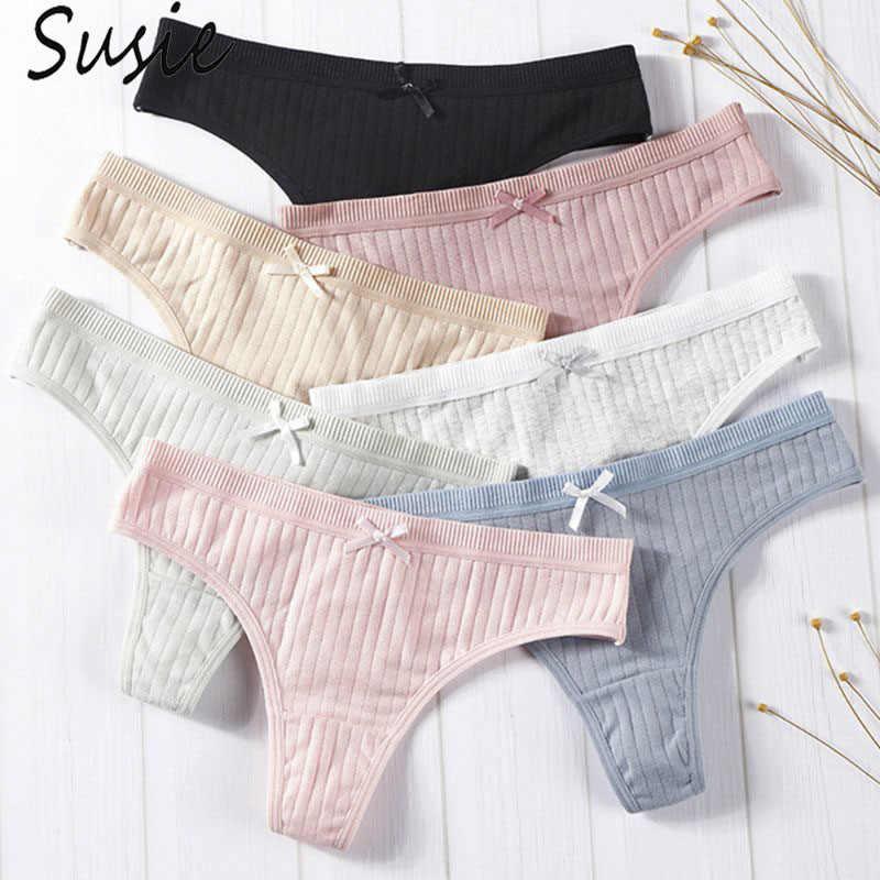 Mulheres sexy baixo aumento de algodão g-string lingerie simples cor sólida bowknot calcinha fio dental com nervuras listrado cuecas
