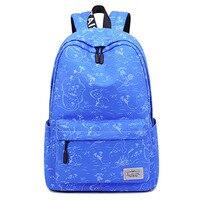 Canvas Waterproof Women Backpack Cartoon Printing Bagpack Laptop College School Book Bag for Ladies