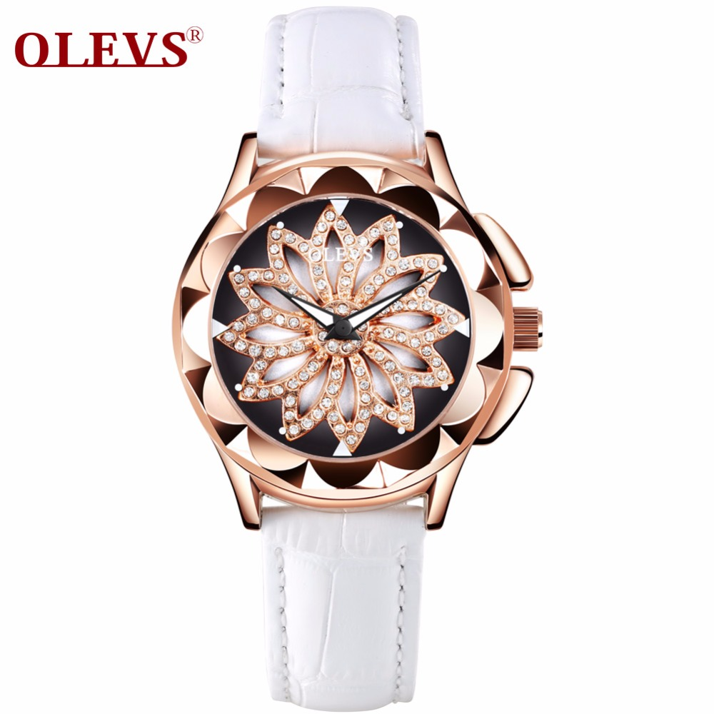 OLEVS Luxury Gold Diamond Women Wrist Watch Flowers Skeleton Dial Woman's Quartz Watches Waterproof Leather Strap Ladies Watch