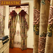 Brown Royal Aristocratic Luxury 4D Jacquard Flower Blackout Villa Curtains for Bedroom High Quality Curtain Living Room