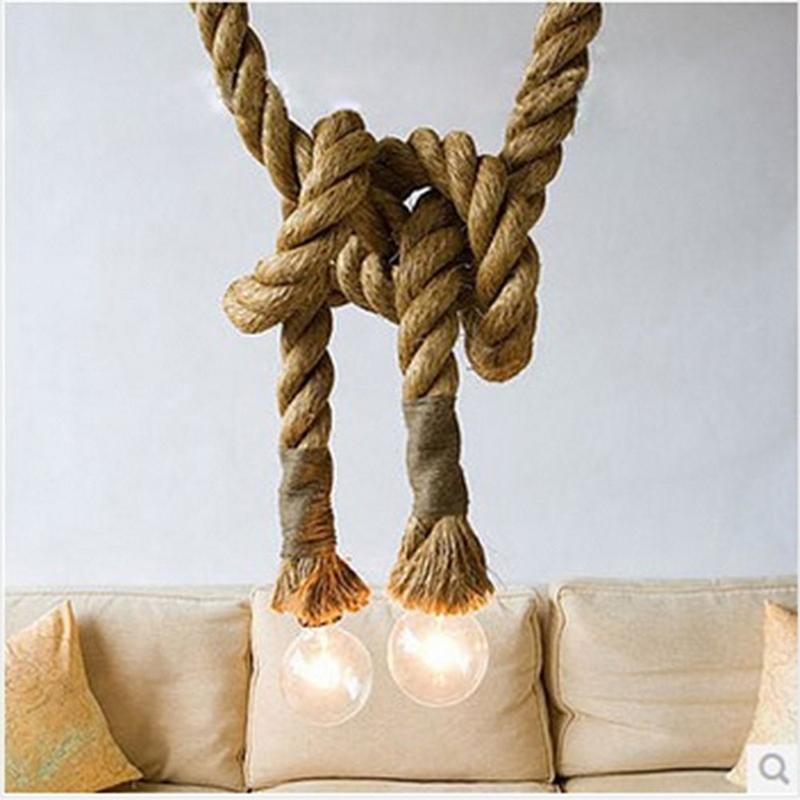 AKDSteel Vintage Hemp Rope Ceiling Chandelier Creative Pendant Lamp Hanging Lights For Living Room Bar Public Places Decor
