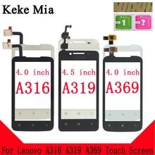 Keke Mia For Lenovo A 316 319 369 TouchScreen Mobile A316 A319 A369 Touch Screen Glass