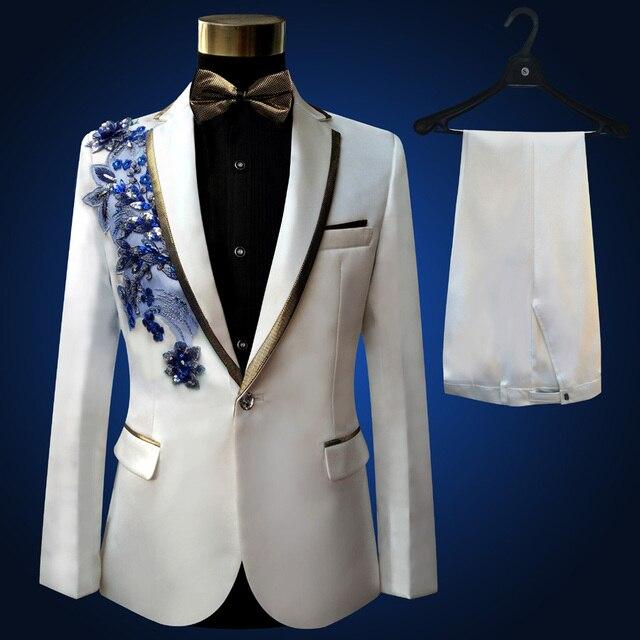14c9649bdd7 Plus Size Men Suits ( Jacket + Pants ) S-4XL Fashion Black Paillette  Embroidered Male Singer Slim Performance Party Prom Costume
