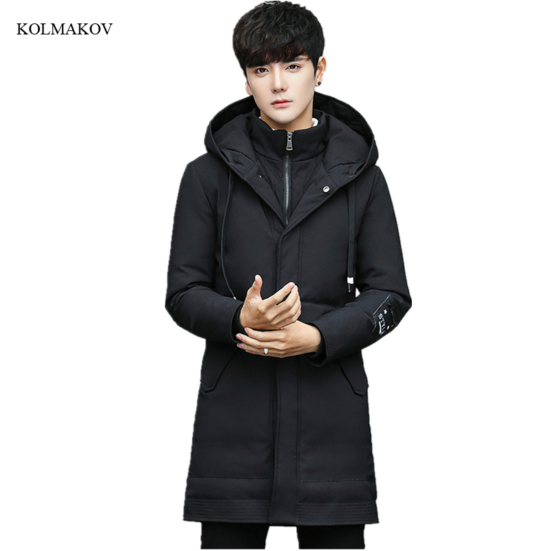 2017 new winter style men boutique warm down coats fashion casual zippers thicking coat mens slim solid overcoat size M-4XL