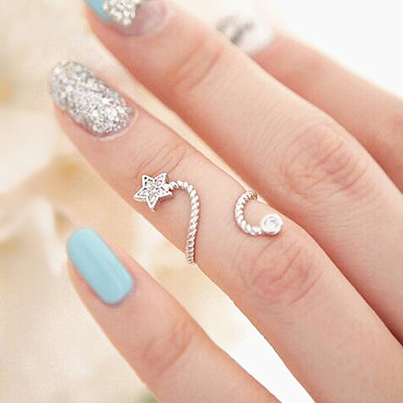 New Arrival Punk Cool charms Nail Sets Jewellery Finger Rings / Fake Nail Art Rings Women 2019 HOT
