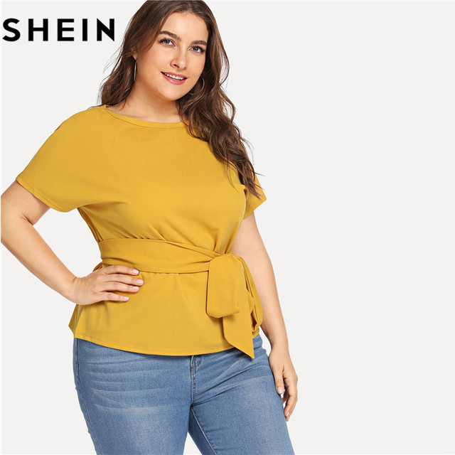 SHEIN Ginger Casual Belted O Neck Raglan Short Sleeve Plus Size Women Blouses Summer Elegant Tie Waist Solid Blouse With Sashes 3