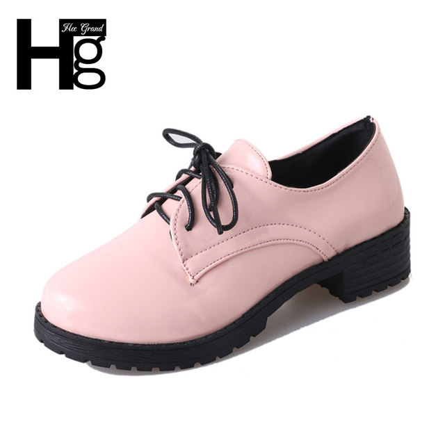HEE GRAND 2017 Vintage Round Toe Women Oxfords Flat Shoes Korean PU Leather Platform Women Shoes Autumn Ankle Boots XWD848
