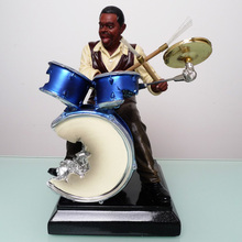 Abstract Drum Kit Player Sculpture Resin Music Figure Handicraft Ornamernt Embellishment for Art Collection and Room Decoration