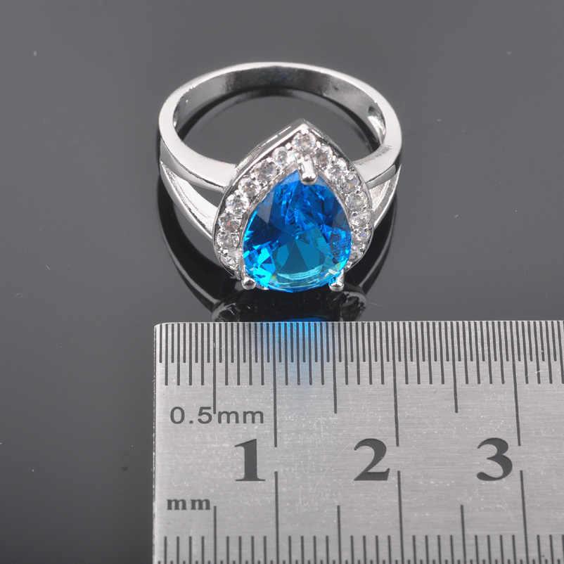 FAHOYO שמיים כחולים Zirconia טיפת מים 925 תכשיטי כסף לנשים סטי עגילים/תליון/שרשרת/טבעות משלוח חינם QZ0182