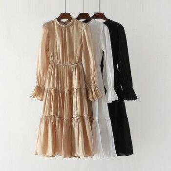 c086d284886d Женское повседневное белое платье Новинка 2019 весна тонкий Винтажный стиль  яркие платья дамы тонкий черный Халат вечернее платье vestidos Mujer