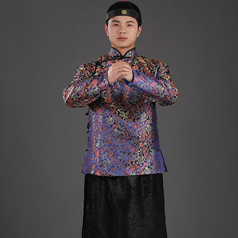 Chinese Traditional  Rich Man Outfit Capitalist Garment Gown Robe Ropa Tradicional China Vetements Traditionnels Chinois