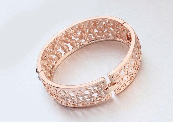 Bracelets en alliage de couleur or Rose avec Bracelet creux coloré pour femme - 5